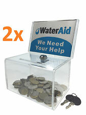 2x Acrylic Donation Box Ballot Box Suggestion Box