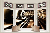 Huge 3D Bay Window Train Tunnel View Wall Stickers Mural Wallpaper 131