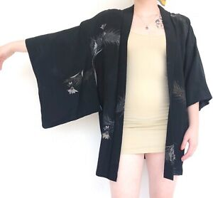 Vintage 60s silk kimono with metallic accents