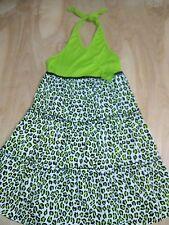 Girls Green Black White Animal Print Sleeveless Tiered Sun Dress Size 14