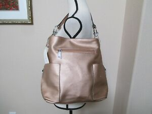 NWT LE MIEL GOLD Large Side Pocket Tote Bag