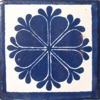 "One Handmade Mexican Tile Sample Talavera Clay 4/"" x 4/"" Tile C088"