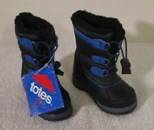 NWT Totes Toddler Boys Faux Fur Lined Winter Snow Boots 5 Black/Blue MSRP$50