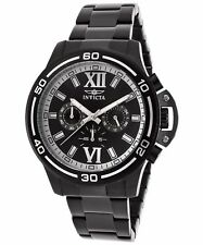 New Mens Invicta Specialty Black Dial Chronograph Black IP Steel Watch