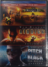 The Scorpion King / Riddick / Pitch Black (DVD, 2008, Widescreen) Vin Diesel NEW