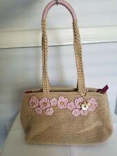 The Sak  Bamboo w/ Pink Flowers Crochet Medium Shopper Tote Bag