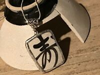 Recycled Broken Porcelain Jewelry, Asian Symbols Large Pendant