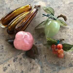 Vintage Boho Bohemian natural Stone peach   plum berries Sculpture Decor