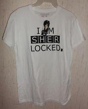 "NWT WOMENS / JUNIORS SHERLOCK ""I AM SHER LOCKED"" WHITE NOVELTY T-shirt   SIZE XL"