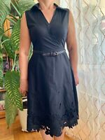 BSBG MAXAZRIA Eyelet Lace Summer Belted Dress Sleeveless 100% Cotton Size 4