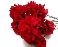 20 Silk flower stems/picks Artificial Carnation  burgundy   Funerals Weddings