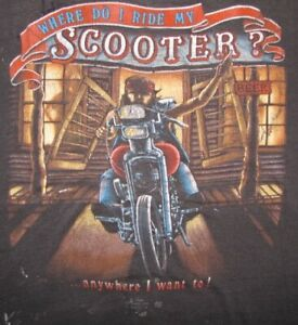 "RARE Vintage 1986 ""WHERE DO I RIDE MY SCOOTER?"" 3D Emblem T-SHIRT"