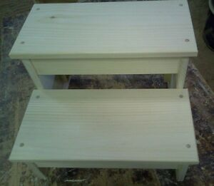 WOODEN BENCH WIDE PLAIN SKIRT 2 STEP STOOL PINE WOOD UNFINISHED SOLID WOOD