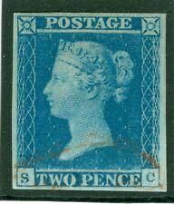 SG 14 1841 2D blue plate 4 alphabétisé sc. 4 grandes marges annulé uniquement par un pa