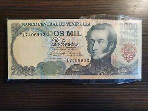 1998 Venezuela 2000 Bolivares Pack 99 Pcs Consecutive.Bundle AU/UNC Scarce.