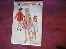 Vtg Simplicity Pttn 7453 Girls Tent Dress 1967 Sz 12 Child Front Yoke Pleats Zip