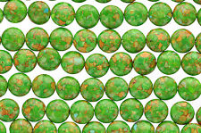 1 strand Magnesite Stone Beads Variegated GREEN COIN CIRCLE Round . 14mm gmx0005