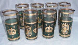Set of 8 Culver Crown & Shield MCM Tumblers 22kt Gold Trim Beautiful Green/Teal