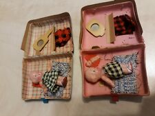 """Antique Pair Miniature Celluloid Baby Dolls Jointed 2"""" in Suitcases"""