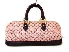 Auth LOUIS VUITTON Alma Long M92207 Cerise Monogram Mini Cotton   Leather 8372bb5fb1f39