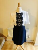 Hobbs Navy Blue And White Lace Detail Dress Size 14 Bow