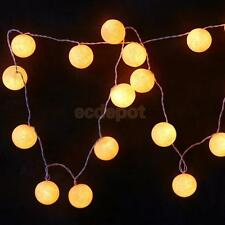 3.2M LED Warm White 20 Cotton Ball Fairy String Lights Wedding Party Garden Pati