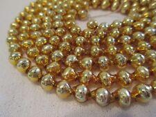 "Vtg Xmas Mercury Glass Bead Garland-Gold Small Single Beads-52"""