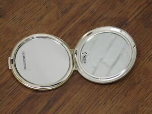 VINTAGE STRATTON COMPACT MIRROR BLANK FRONT FOR YOUR OWN DESIGN SILVER COLOUR