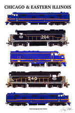 """Chicago & Eastern Illinois Locomotives 11""""x17"""" Poster Andy Fletcher signed"""