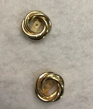 Solid Yellow Gold Love Knot Earring Jackets Enhancers For Studs
