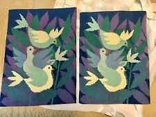 Needlepoint Embroidery tapestry Set Of 2 Colorful Doves Birds   #012036