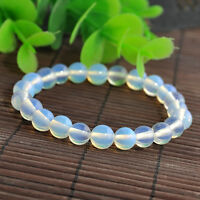 Fashion Charm Round Opal Moonstone Gemstone Beads Unisex Bracelet Jewelry Gift