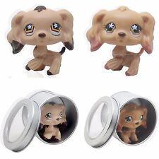 2pc #716 #575 Rare Littlest Pet Shop Brown Cocker Spaniel Dog Flower Eyes LPS
