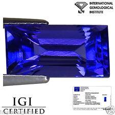 4.91 Ct IGI Certified AAA Natural DBlock Tanzanite Rectangular Cut Blue Violet