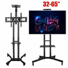 Adjustable Mobile TV Stand Mount Universal Flat Screen Rolling TV Cart 32-65""