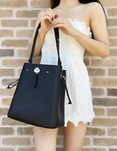 Kate Spade Marti Large Bucket Bag Shoulder Bag Black Pebbled Leather Crossbody