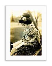 Geisha Maiko Giappone Kyoto lettura Kimono NUOVO POSTER FOTO STAMPE SU TELA ART