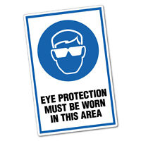 Eye Protection Must Be Worn In This Area Sticker Decal Safety Sign Car Vinyl ...