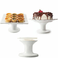 Home Basics NEW White Porcelain Cake Serving Elegant Serving Stand Plate