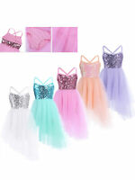 Kids Sequins Ballet Dance Dress Ballerina Lyrical Dancewear Tutu Leotard Costume