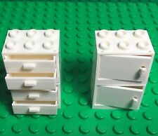 Lego X4 New White Cupboard Container W/ Drawers / Doors Kitchen / Garage Cabinet