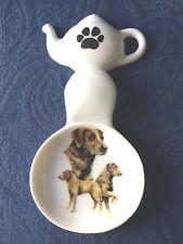 Chesapeake Bay Ret. Dog New Handmade Ceramic Porcelain Tea Bag Holder Spoon Rest