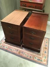 More details for pair of antique mahogany bedside,side tables in need of restoration