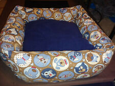 New listing dog bed medium homemade removable cushion. Blue and brown