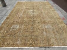 Old Hand Made Traditional Persian Wool Faded Large Distressed Carpet 267x255cm