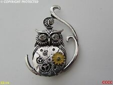 new steampunk brooch badge pin silver owl gearwheel cog mechanical crescent moon