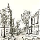 Paris Street Original Modern Drawing Contemporary French Art Neal Turner