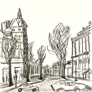 Paris Street Original Modern Drawing Contemporary French Art Neal Turner NR