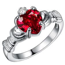 Fashion 925 Silver Ruby Gemstone Claddagh Ring Wedding Gift Women Jewelry Size10