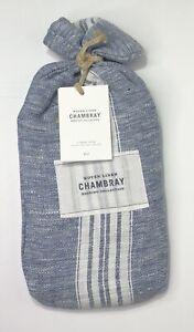 Restoration Hardware Woven Linen Chambray Stripe Lumbar Sham Indigo NEW $79